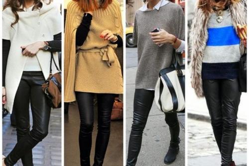 С чем зимой носить лосины. Идеи образов