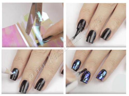 Битое стекло для ногтей, как делать маникюр. Как сделать маникюр с эффектом битого стекла