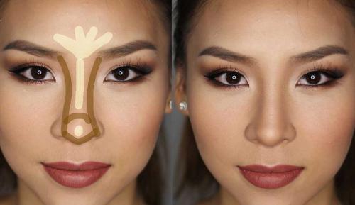 Как визуально уменьшить нос картошкой с помощью макияжа. Корректировка носа макияжем