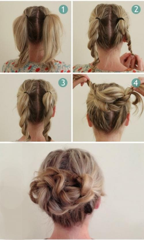 Повседневные прически для волос средней длины. Быстрые прически с косами-спиралями