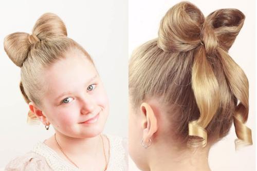 Прически гульки для детей. Детские прически с бантами из волос