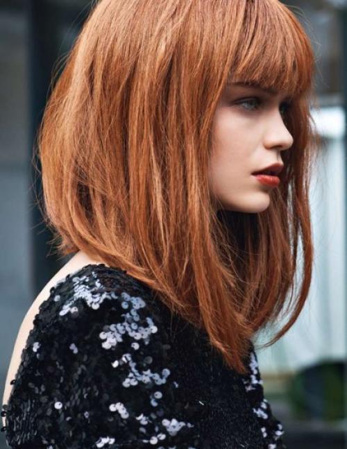 Каре на средние волосы с челкой. Модный боб на средние волосы с челкой
