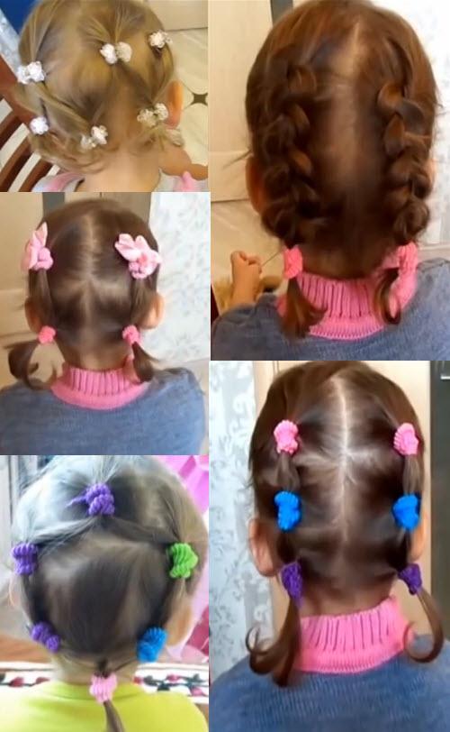 Для девочек прически на бок. Для коротких волос: с заколками крабиками, косички и хвостики