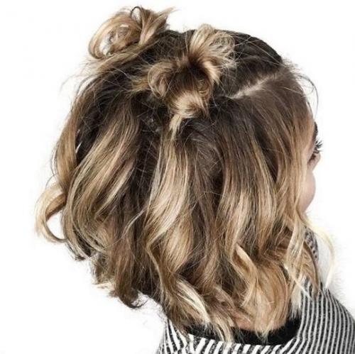 Прически для подростков на короткие волосы. Многообразие пучков
