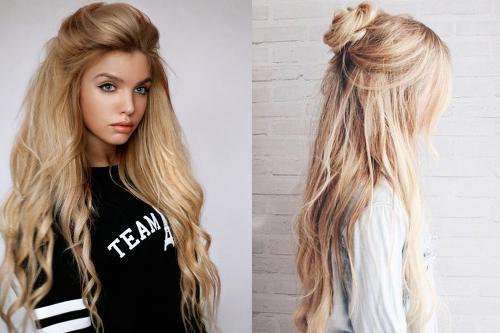 Прически для полудлинных волос. Прически с частично собранными и распущенными волосами