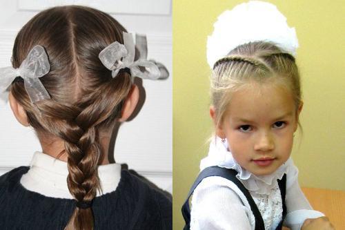 Прическа для девочки с пучком. Детские прически с бантами из волос