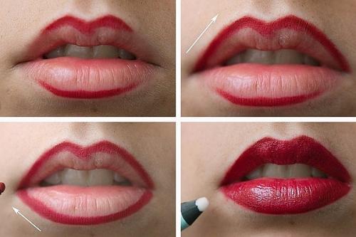 Как красить губы для объема