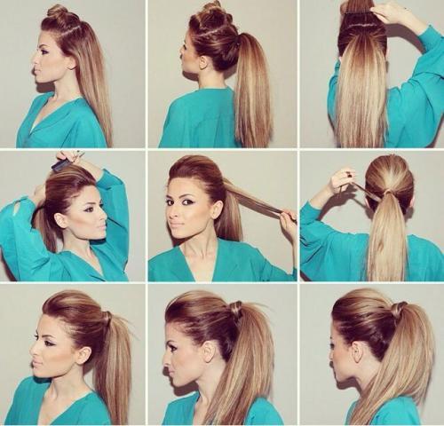 Прическу на среднюю длину волос. Хвосты