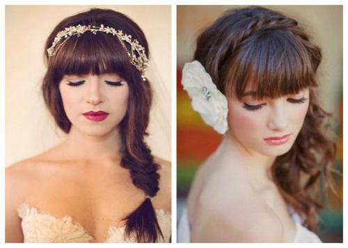 Свадебная укладка с челкой на средние волосы. Свадебные прически с челкой и без челки