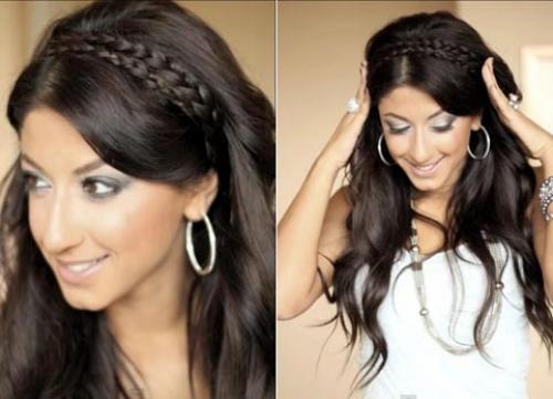 Коса на бок с распущенными волосами. Греческое плетение