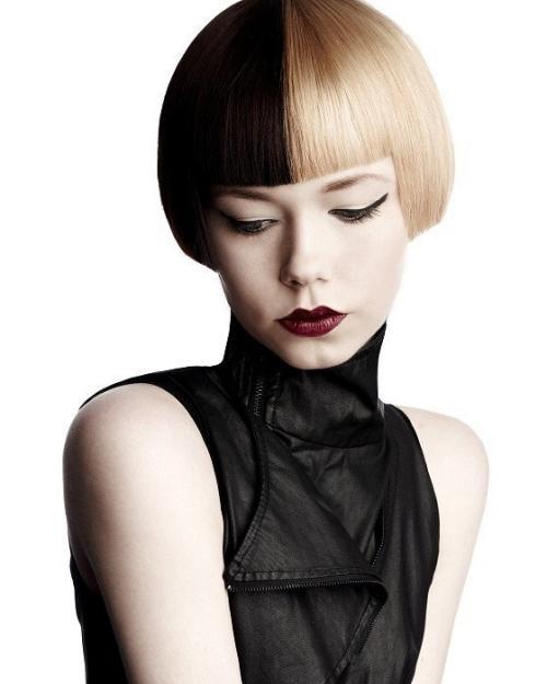 Покраска волос в два цвета черный и белый. Двухцветное окрашивание для коротких волос