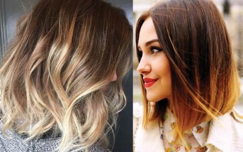 Колорирование волос на темные волосы. Средней длины