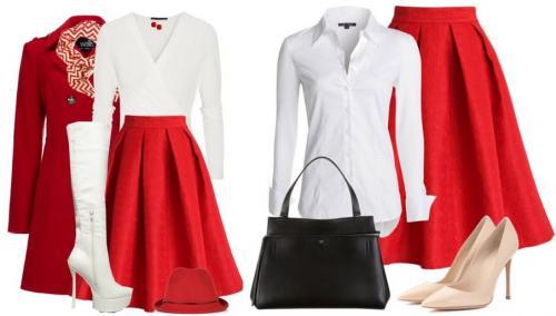 Красная юбка и черная блузка. Какую блузку надеть с красной юбкой