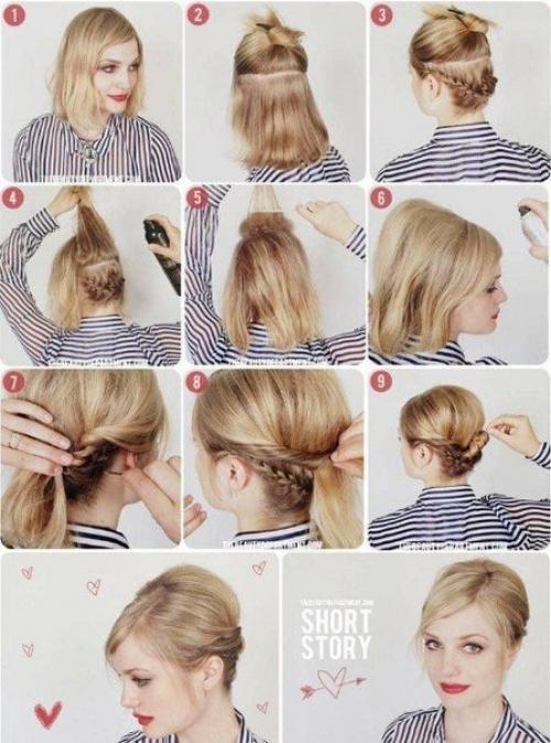 Как самостоятельно сделать причёску на короткие волосы 68