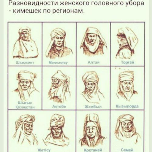 Кимешек традиционный женский казахский головной убор.