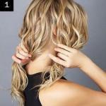 Прическа из узлов на волосах.