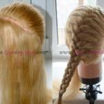 Французская коса с бантиками по диагонали.